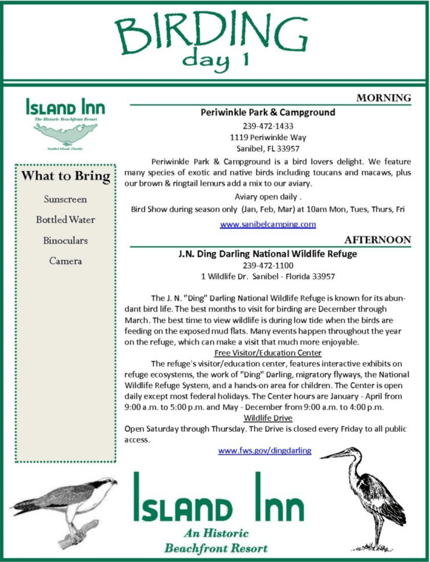 sanibel bird watching itinerary preview